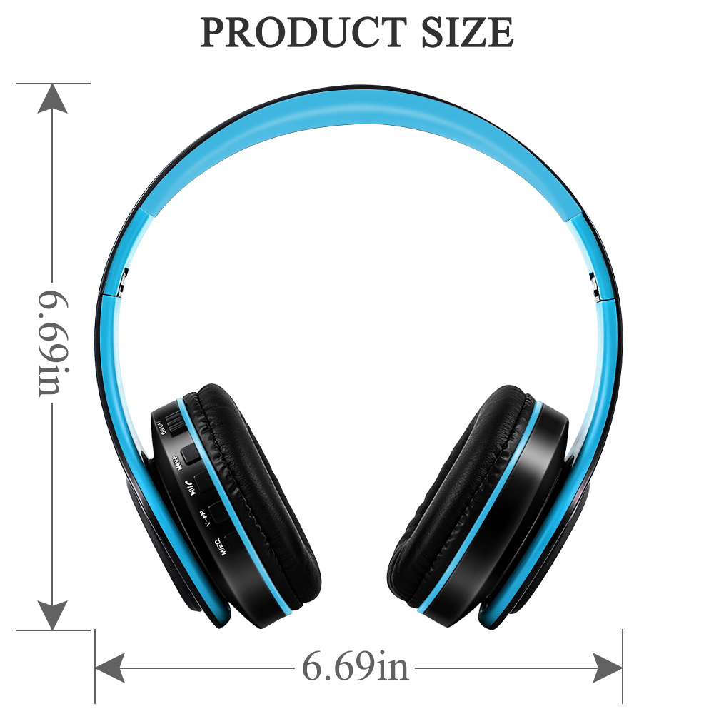 BLU G9 Stereo Wireless Headphones Cushion Hands Free Blue