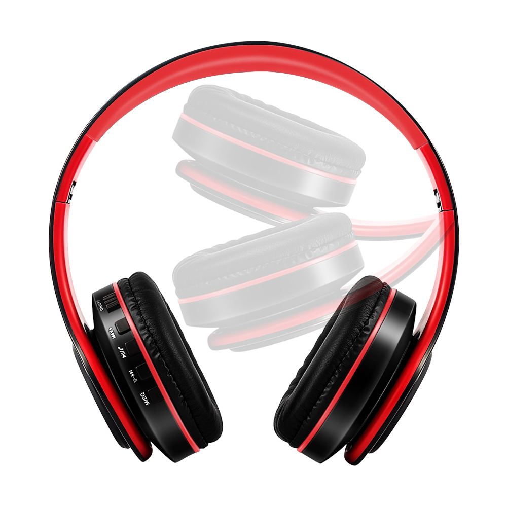 Stereo Wireless Headphones Cushion Hands Free Red