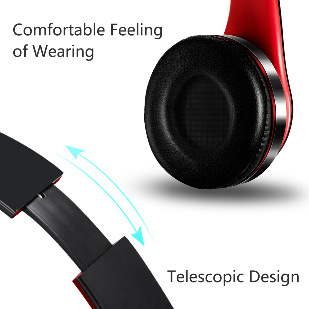 Alcatel Go Flip Stereo Wireless Headphones Cushion Hands Free Red