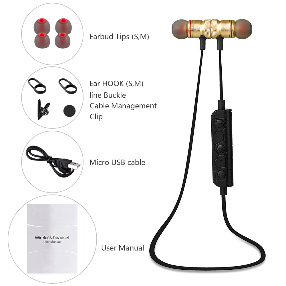 ZTE Axon M Bluetooth Stereo Earphones Sport Headset Gold