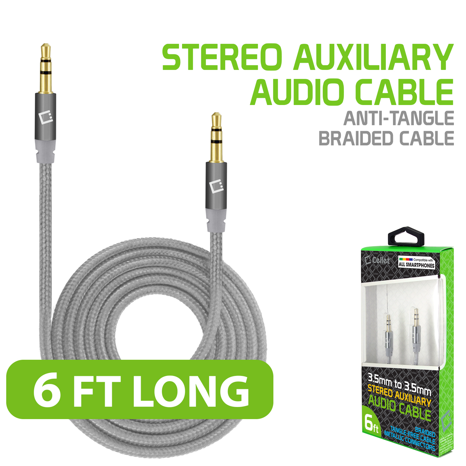 Alcatel Go Flip V Tangle Free Aux Audio Cord 6ft Silver