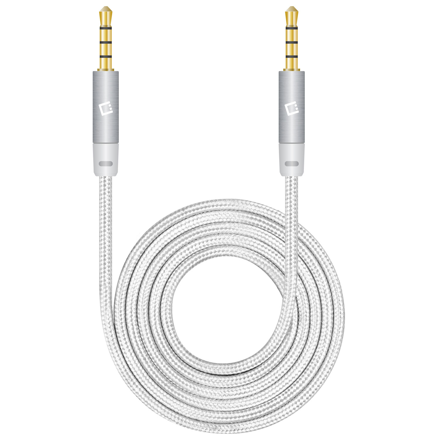 ZTE Blade V8 Pro Tangle Free Aux Audio Cord 6ft White
