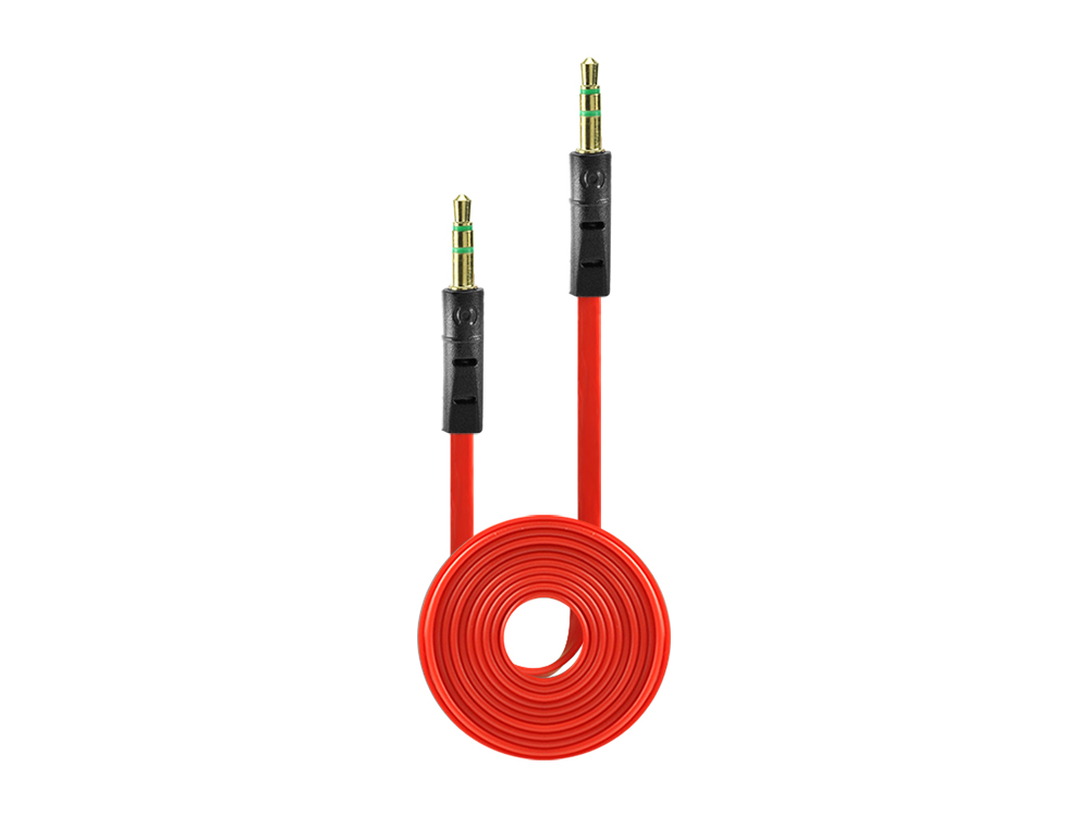 Nokia Lumia 1520 Tangle Free 3.5mm Auxiliary Audio Cable Red