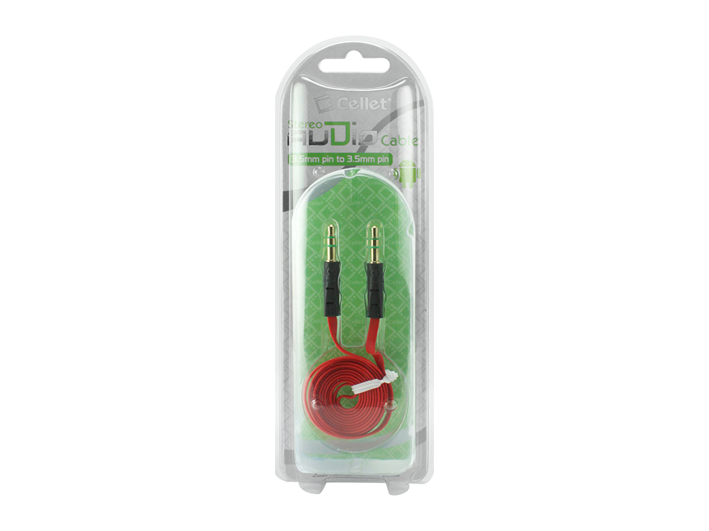 Huawei Ascend Y Tangle Free 3.5mm Auxiliary Audio Cable Red