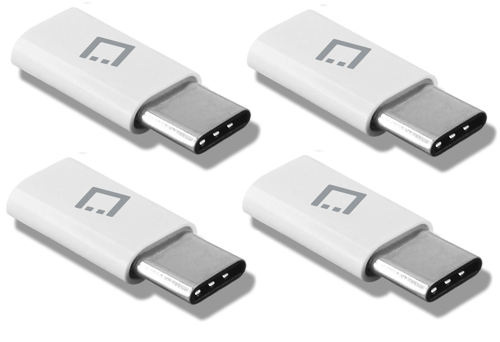 ZTE Blade Spark MicroUSB to USB Type-C Adapter White Pack Of 4