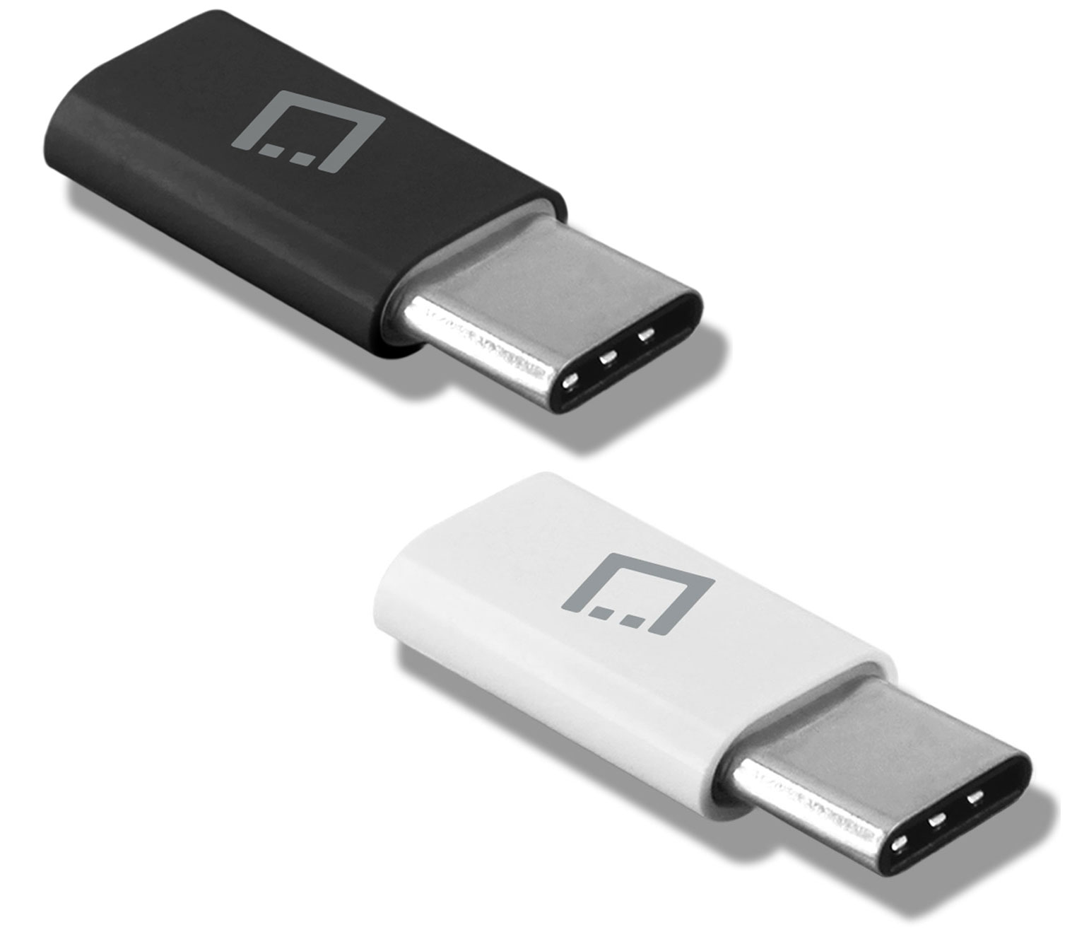 Samsung Galaxy A20 MicroUSB to USB Type-C Adapter Black White Pack Of 2