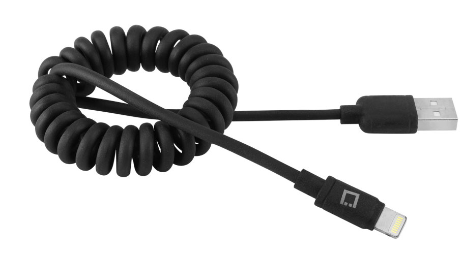 IPhone Xs Max Lightning USB Charging Data Cable Coiled Black