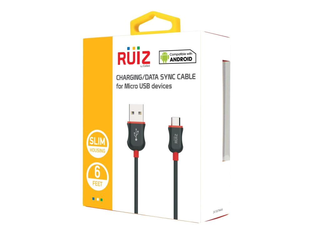 ZTE Avid 4 Data Charging Cable Micro-USB Red 6ft Round