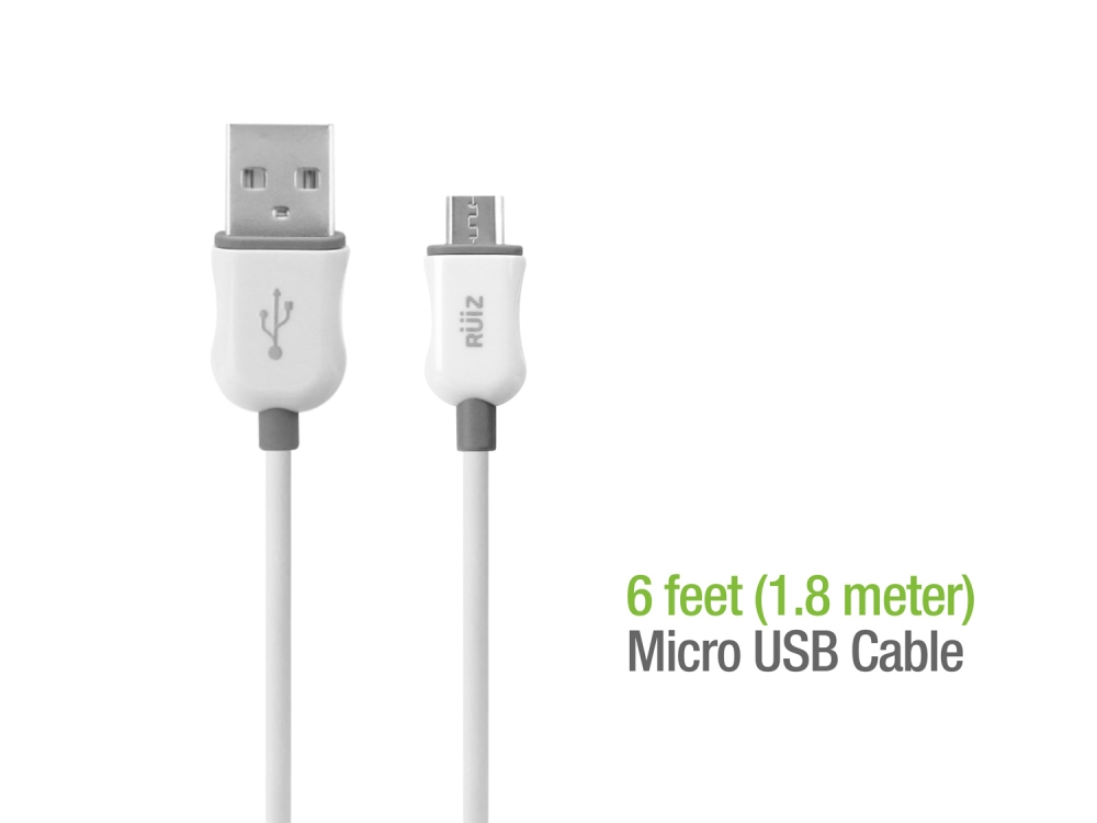 ZTE Cymbal Data Charging Cable Micro-USB White 6ft Round
