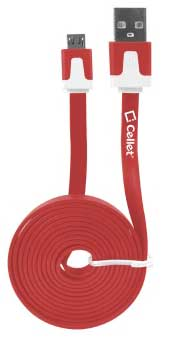 Phone NAFS Micro USB Flat Data Charging Cable Red