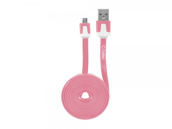 Micro USB Flat Data Charging Cable Pink