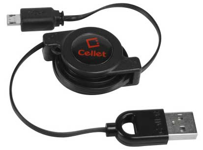 Alcatel Go Flip USB To Micro-USB Retractable Data Sync Cable Black