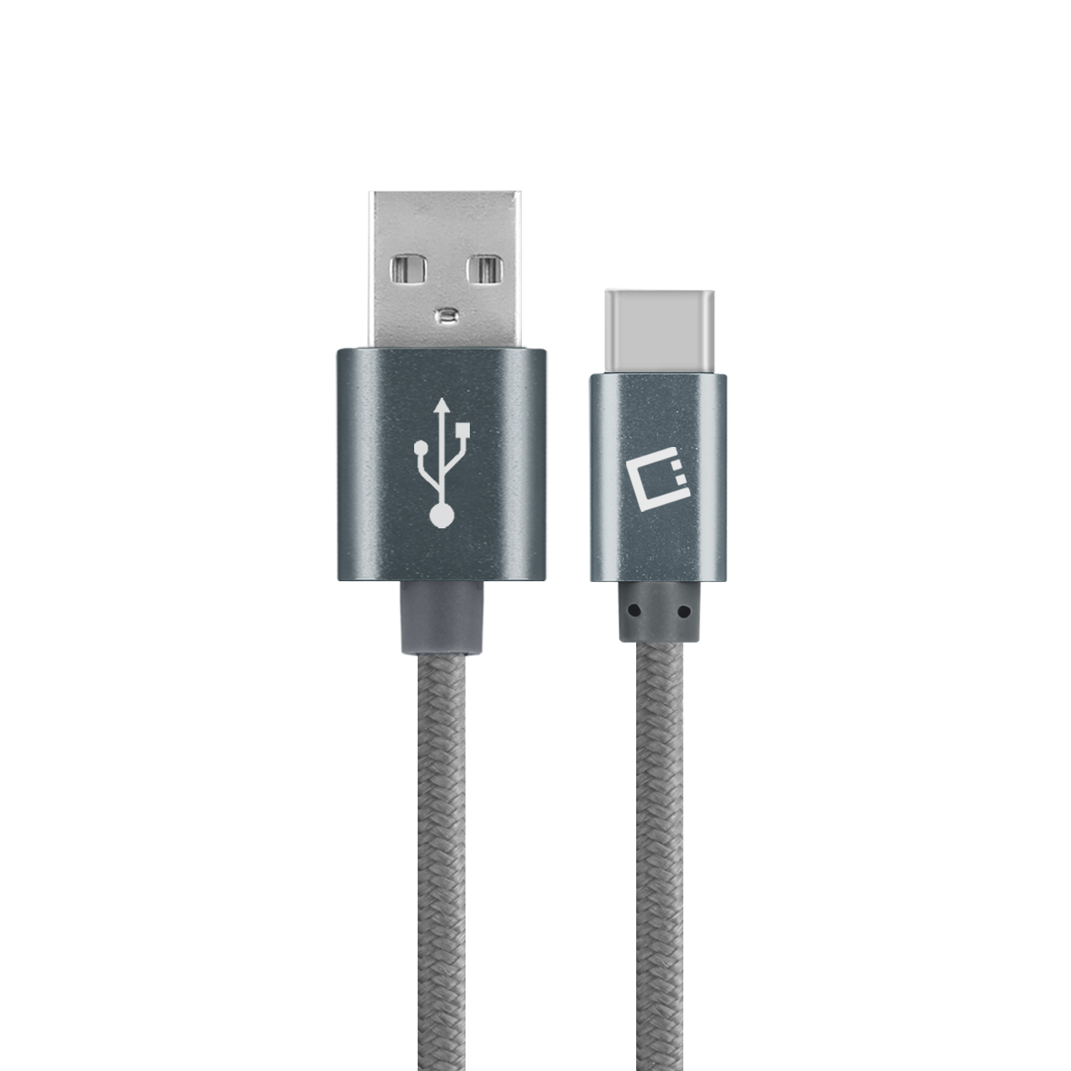 ZTE Blade Spark USB Type-C To Type-A Braided Data Power Cable Grey 10ft Braided