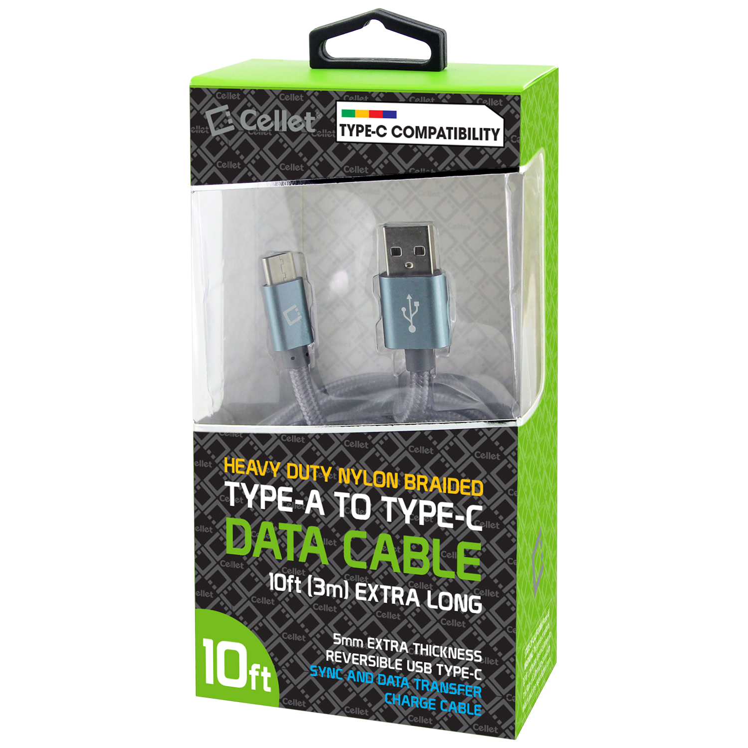 Samsung Galaxy A20 USB Type-C To Type-A Braided Data Power Cable Grey 10ft Braided