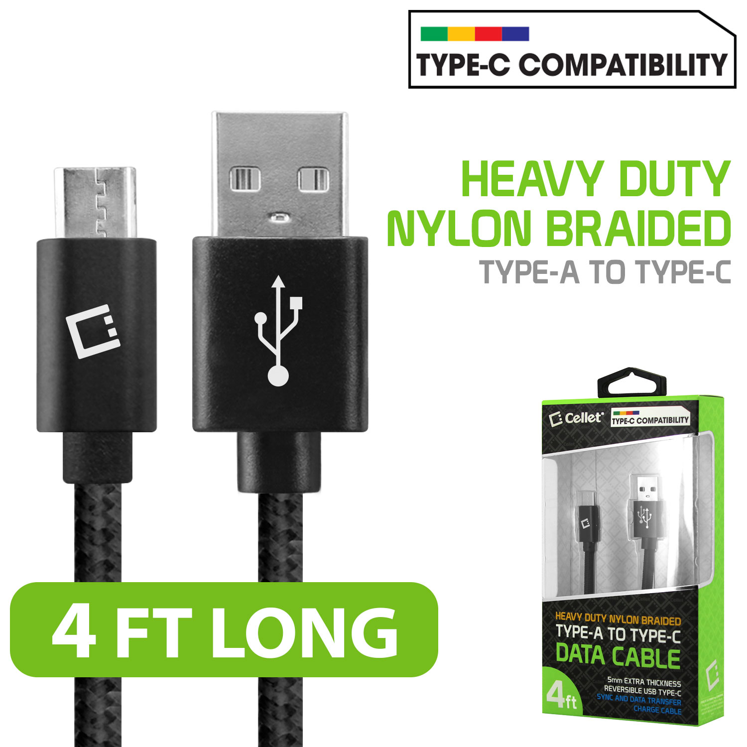 USB Type-C To Type-A Braided Data Power Cable Black 4ft