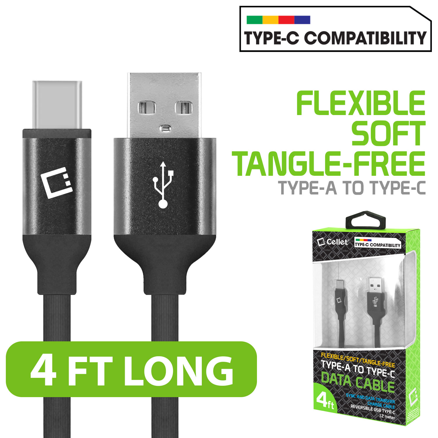 ZTE Blade Spark USB Type-C To Type-A Flat Data Power Cable Black 4ft
