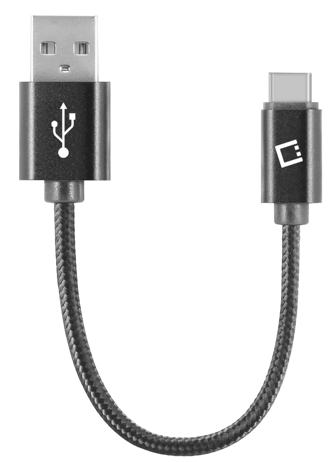 USB Type-C To Type-A Braided Data Power Cable Black 4in Round