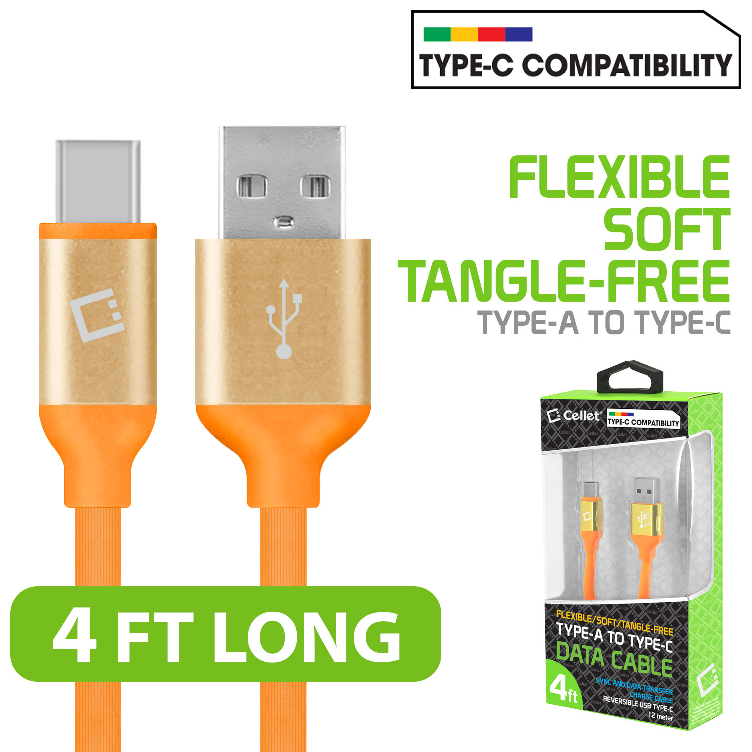 ZTE Blade Spark USB Type-C To Type-A Flat Data Power Cable Orange 4ft