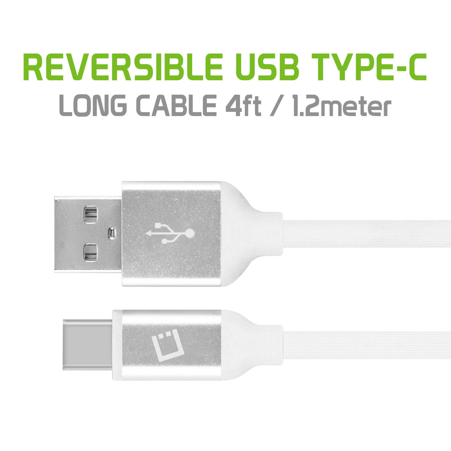 LG Stylo 4 USB Type-C To Type-A Flat Data Power Cable White 4ft