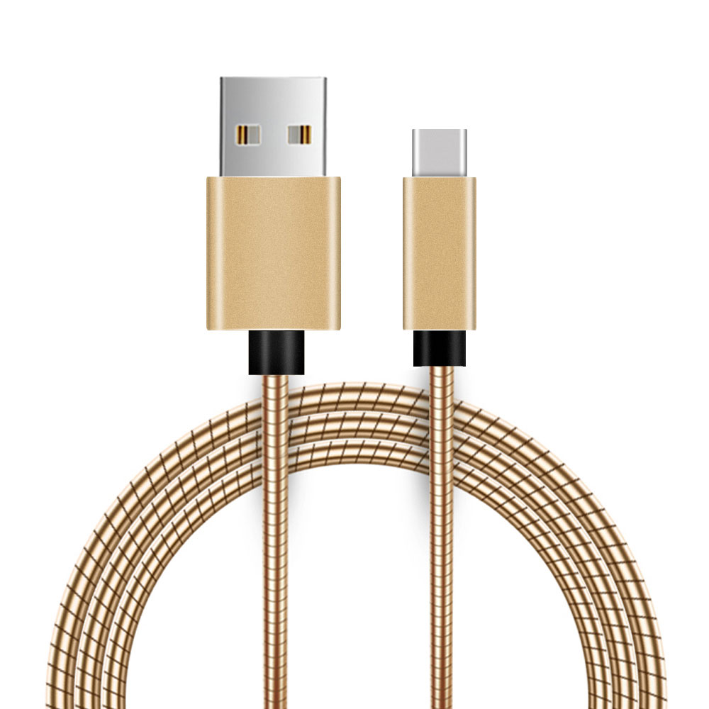 LG Stylo 6 USB Type-C To Type-A Braided Data Power Cable Gold 6ft Braided