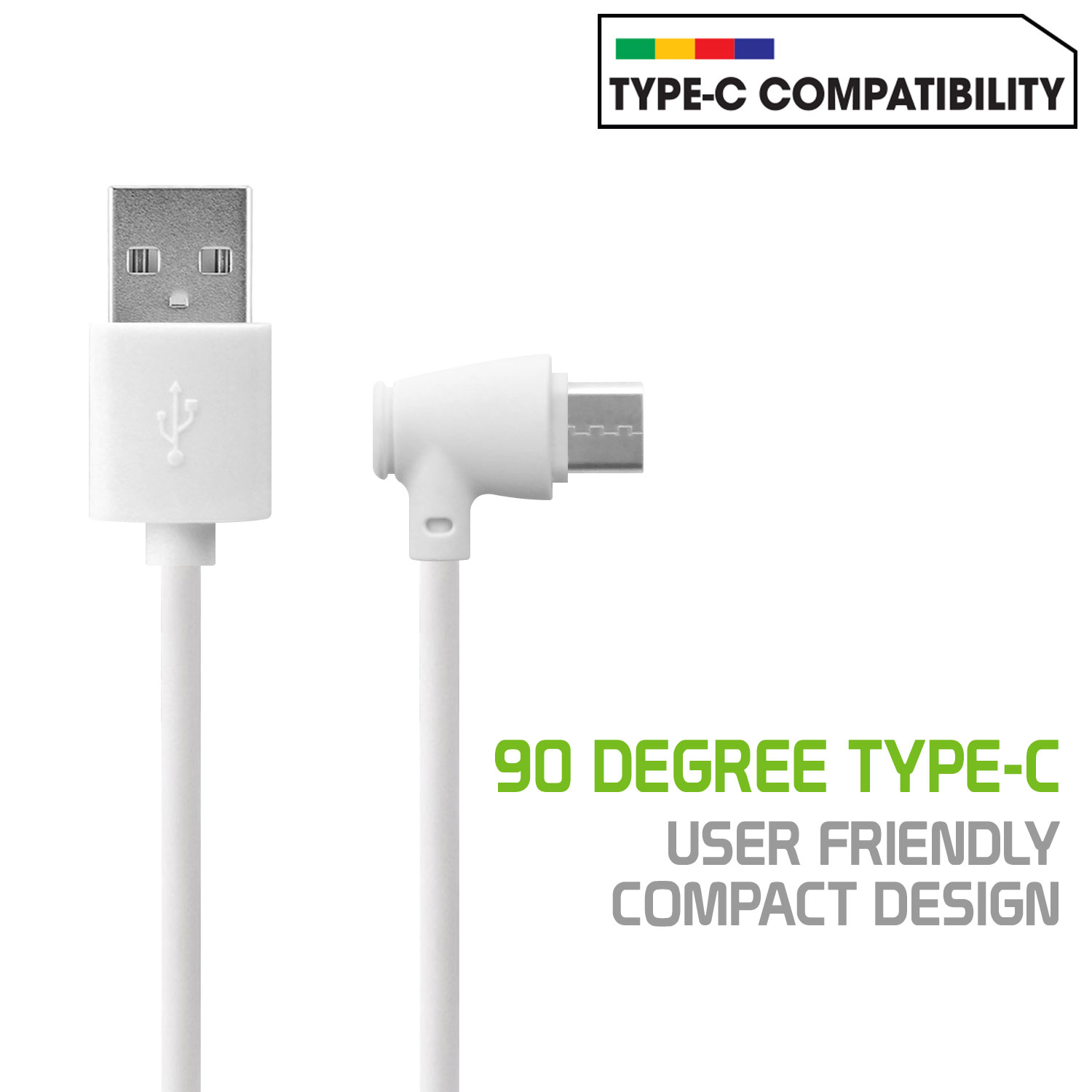 ZTE Blade Spark USB Type-C To USB Type-A Data Charging Cable White 3.3ft Angled