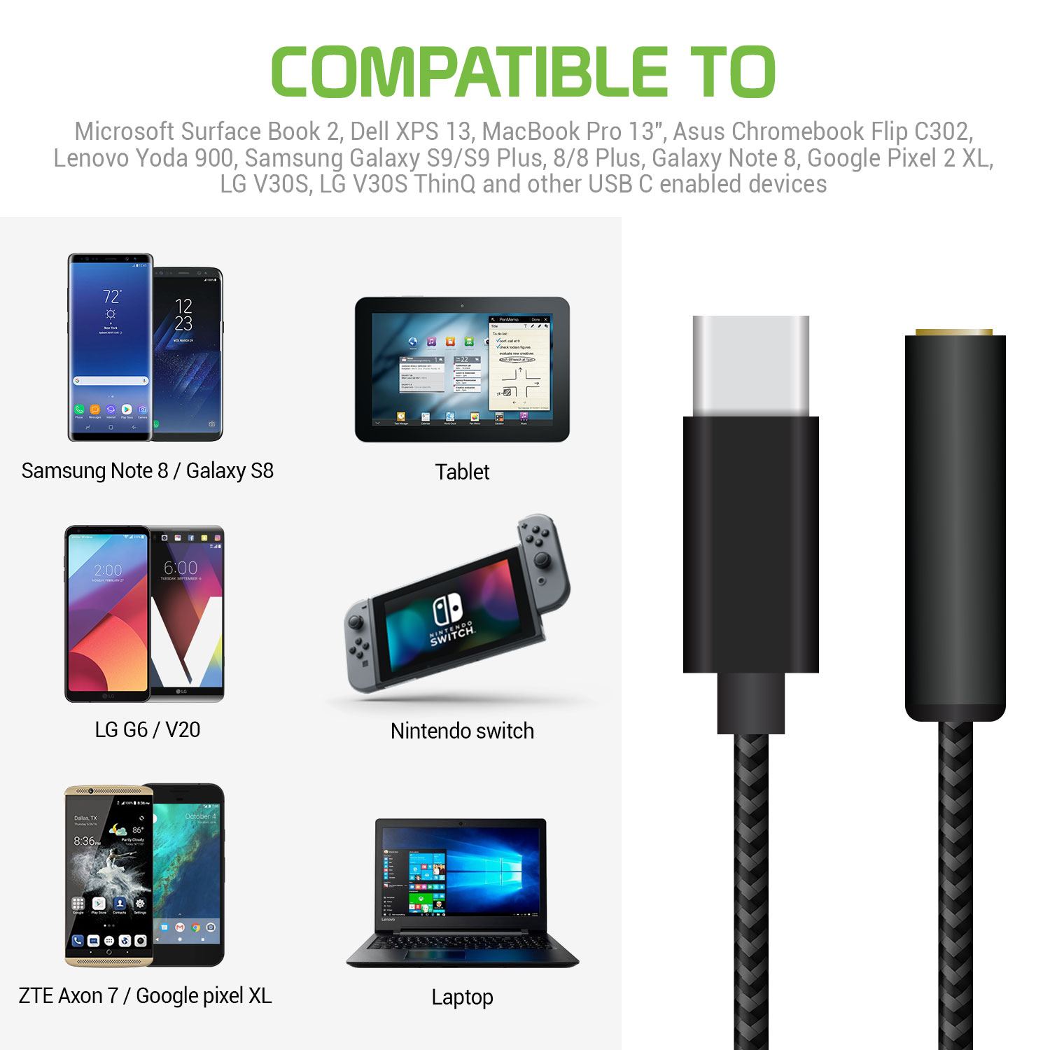 USB Type-C Headphone Adapter Black 5in