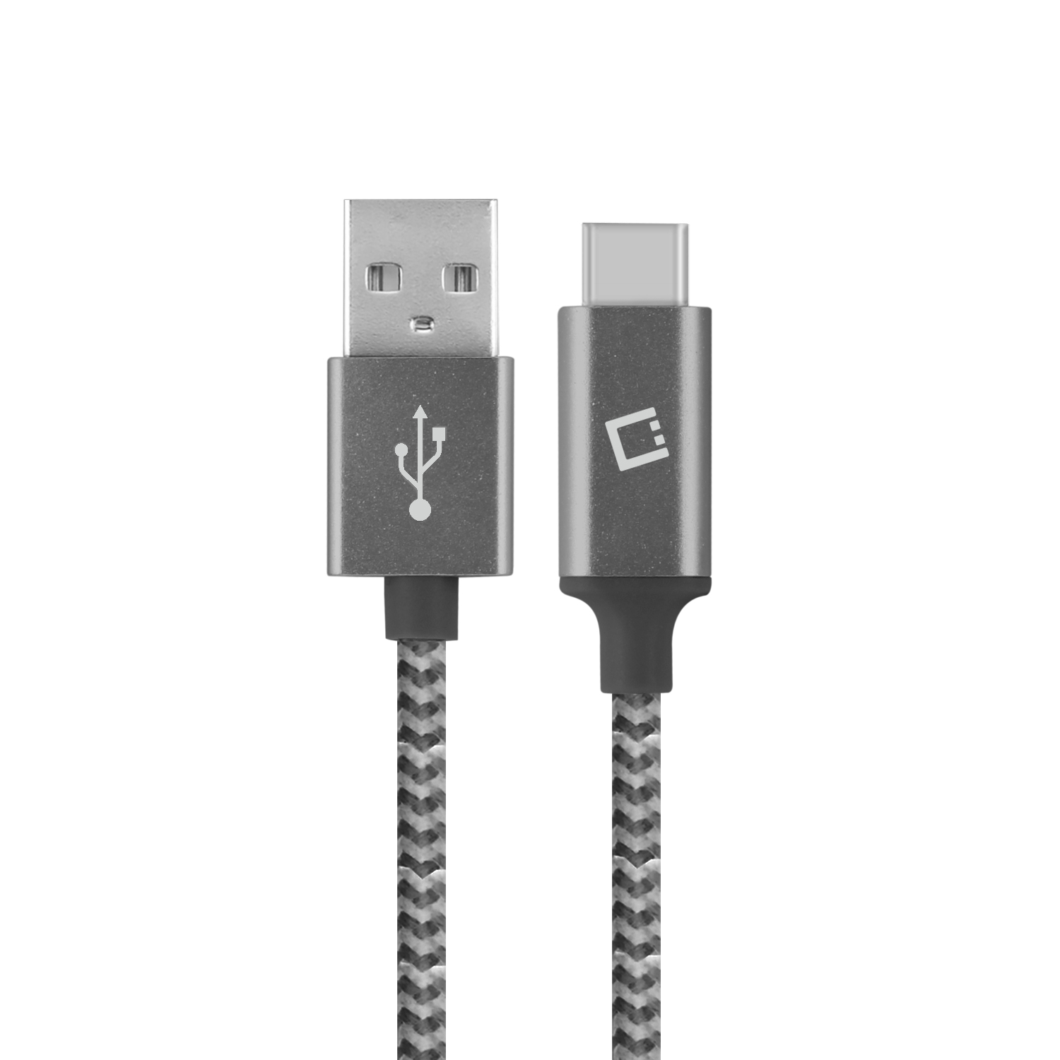 ZTE Blade Spark USB Type-C To Type-A Braided Data Power Cable Black 4ft Round