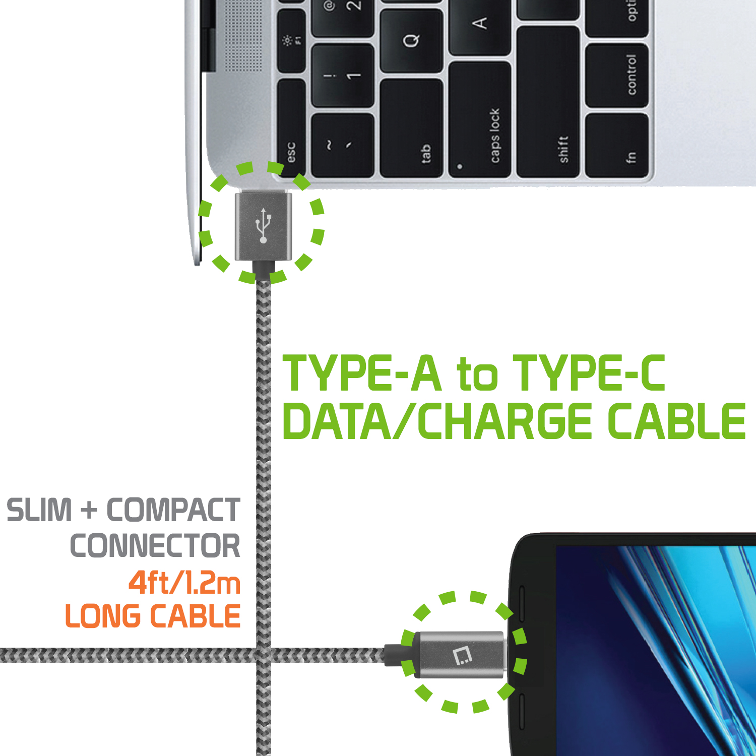LG Stylo 4 USB Type-C To Type-A Braided Data Power Cable Black 4ft Round