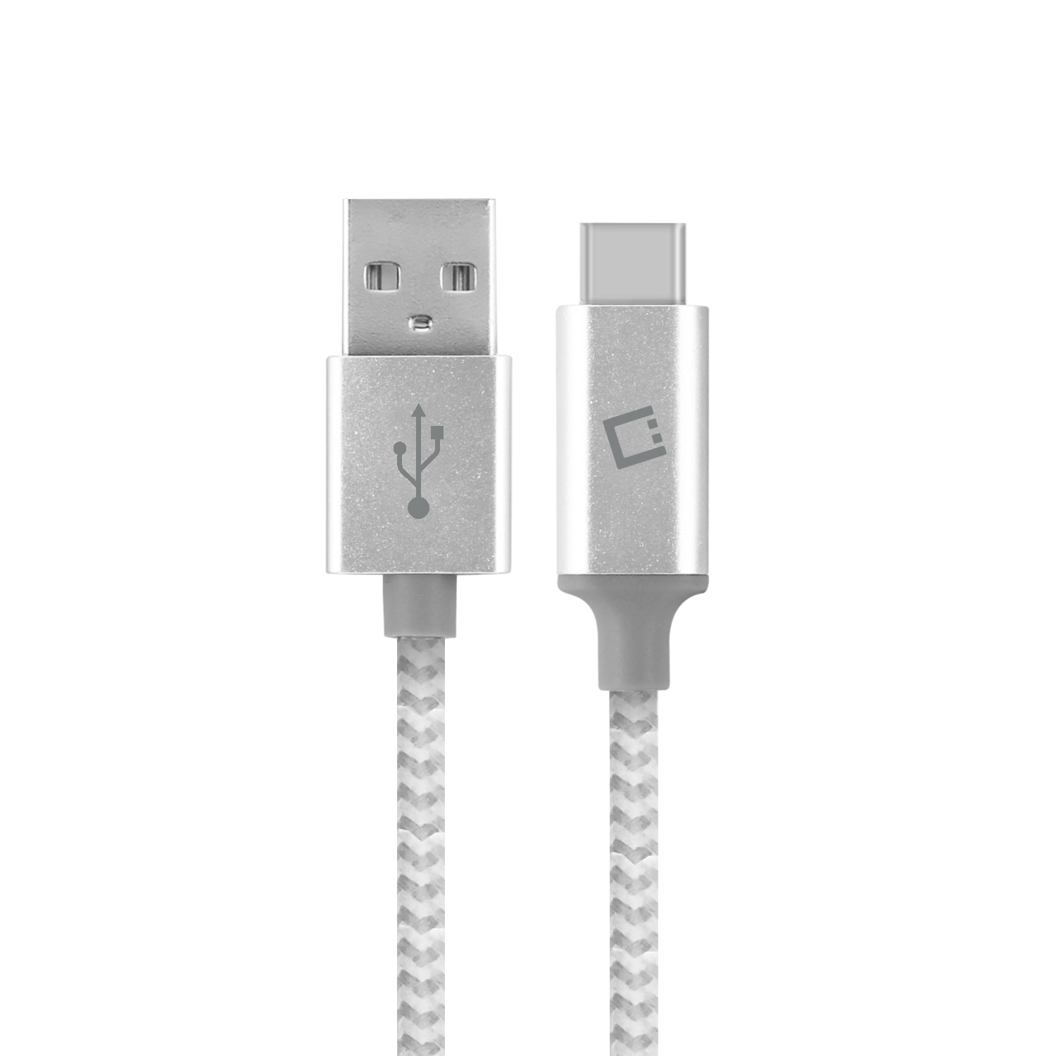 ZTE Blade Spark USB Type-C To Type-A Braided Data Power Cable White 4ft Round