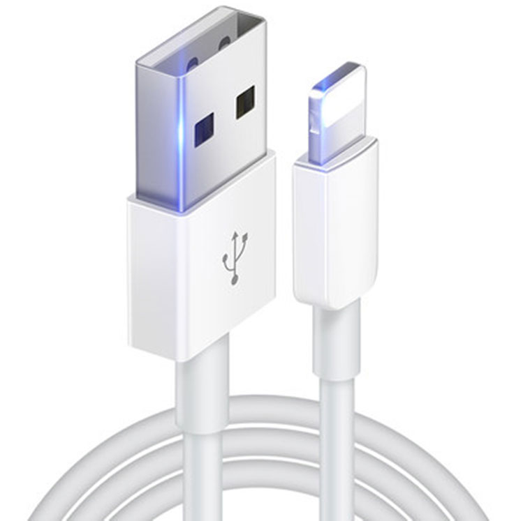 Apple iPhone 12 Pro Lightning Car Charger Black 3ft White Round Cable