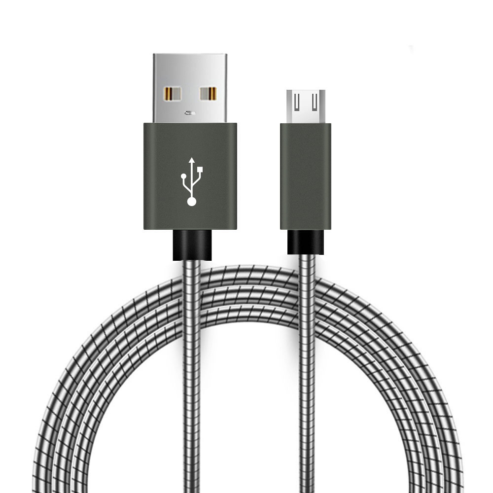 Alcatel Go Flip V USB To Micro-USB Braided Data Power Cable Grey 4ft Braided