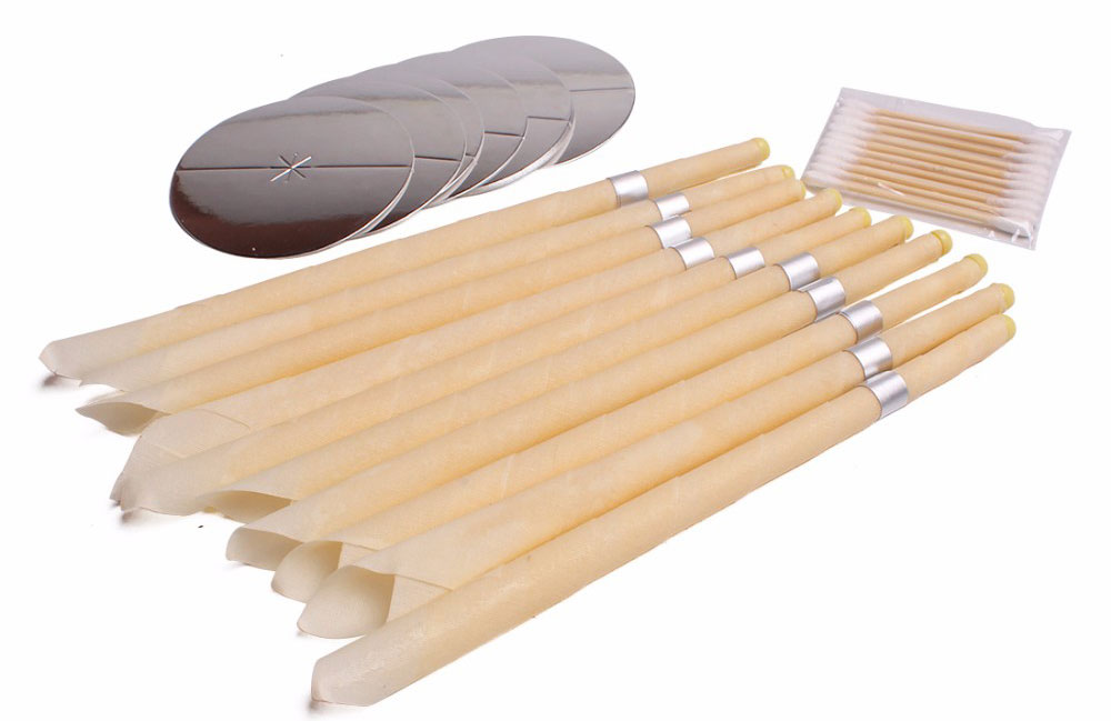 BeesWax Ear Candles Natural Wax Removal Kit 10 Pieces With Cotton Swabs
