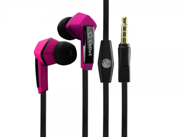 Moto Droid Mini Headset Ear Bud Hands Free Square Pink