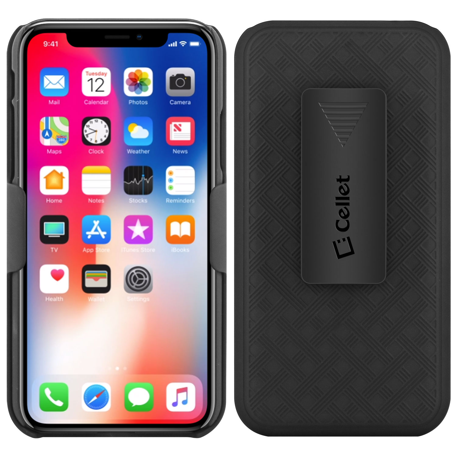 IPhone Xs Case Shell Holster Kickstand Skin Cover Clip Black