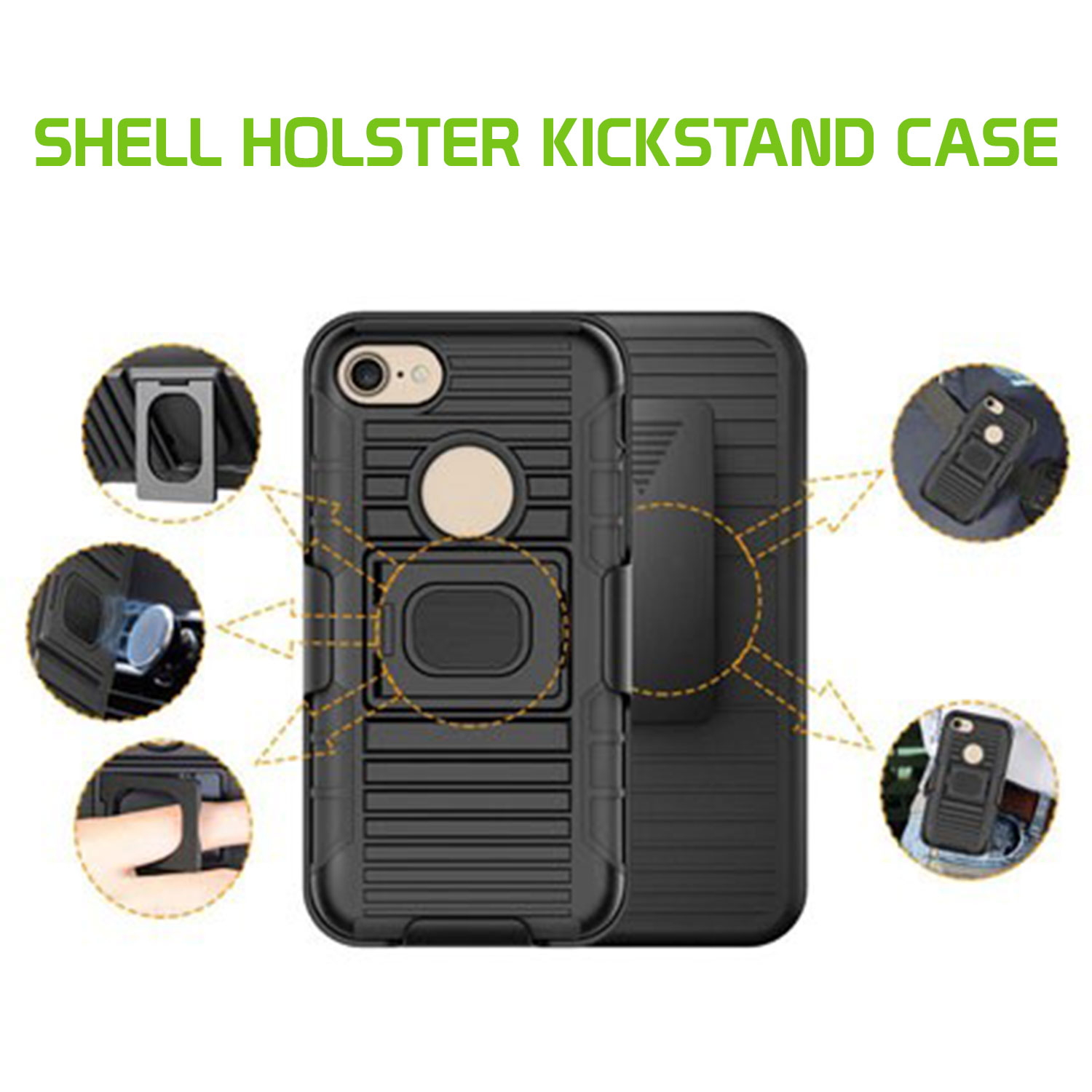 IPhone Xr Case Shell Holster Kickstand Skin Cover Clip Black