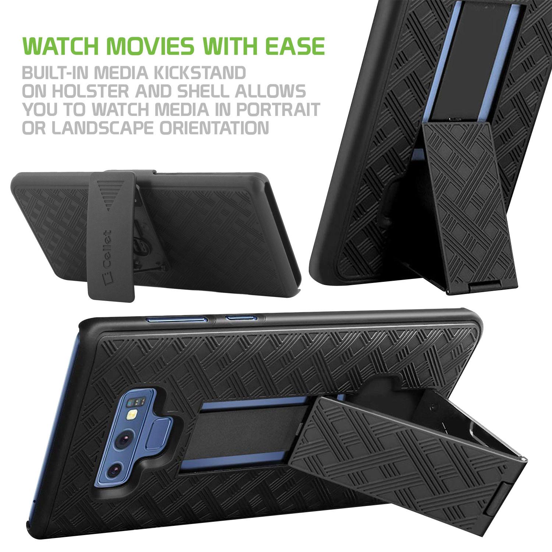 Samsung Galaxy Note 9 Case Shell Holster Kickstand Skin Cover Clip Black