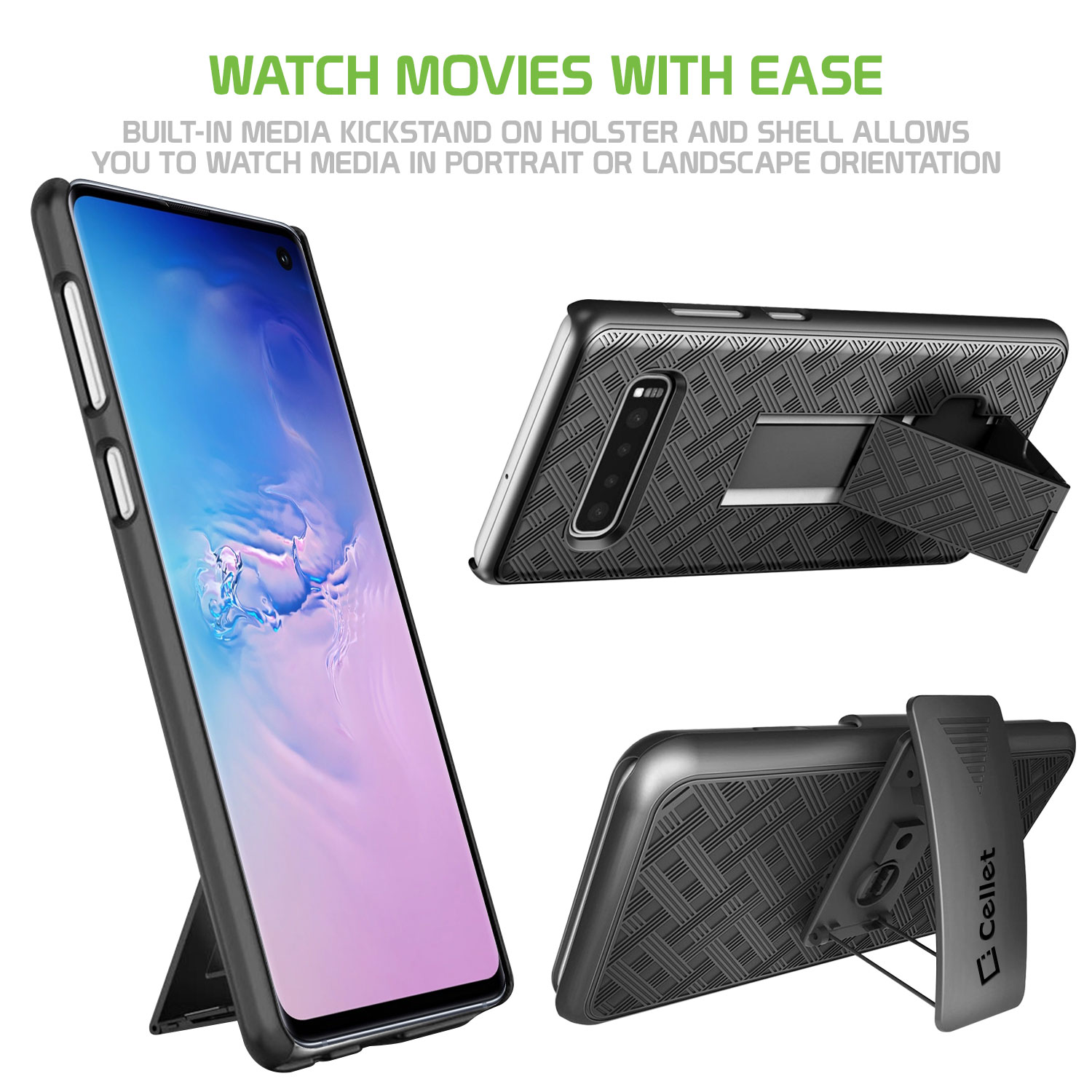 Samsung Galaxy S10 Case Shell Holster Kickstand Skin Cover Clip Black