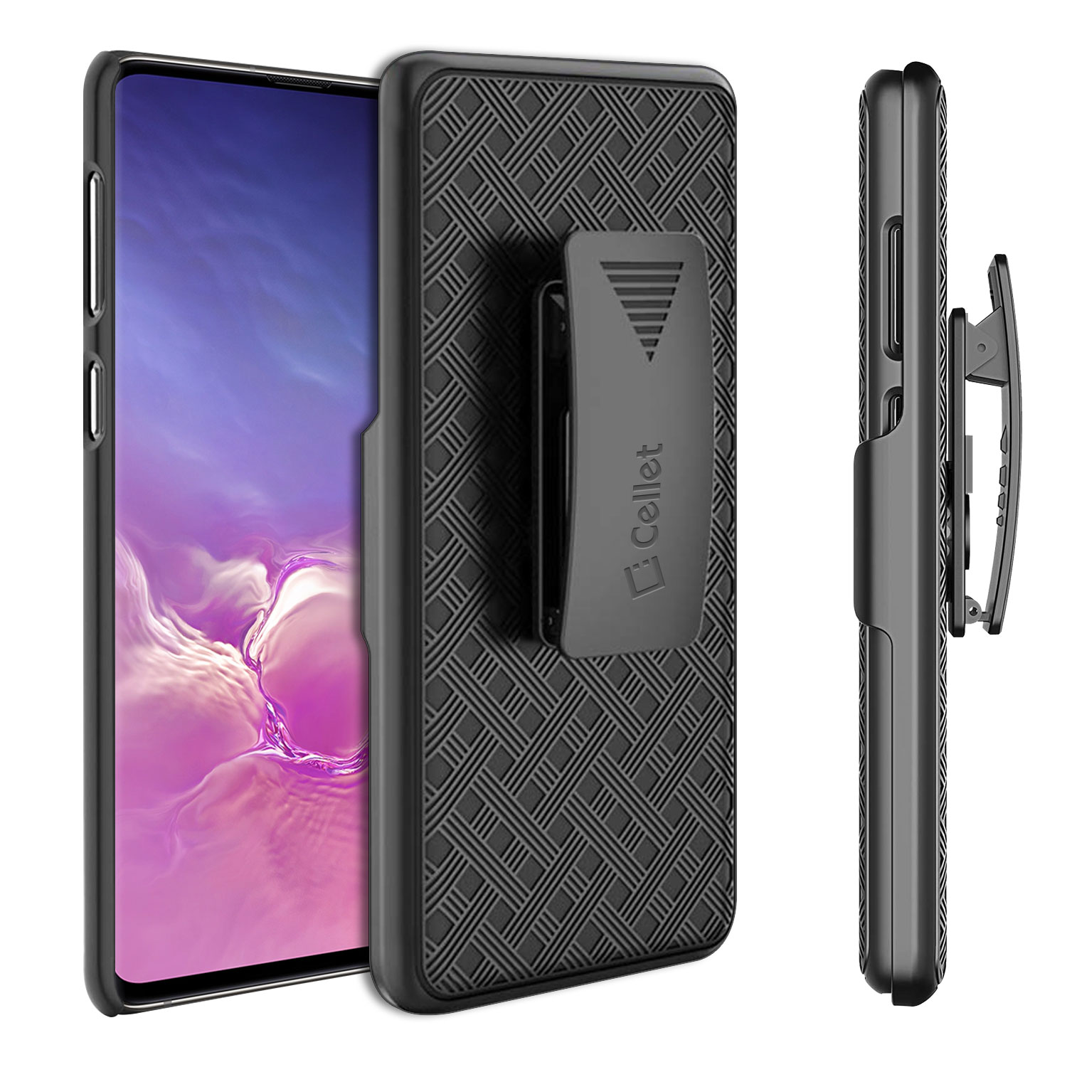 Samsung Galaxy S10 Plus Case Shell Holster Kickstand Skin Cover Clip Black