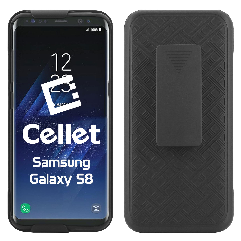 Samsung Galaxy S8 Case Shell Holster Kickstand Skin Cover Clip Black