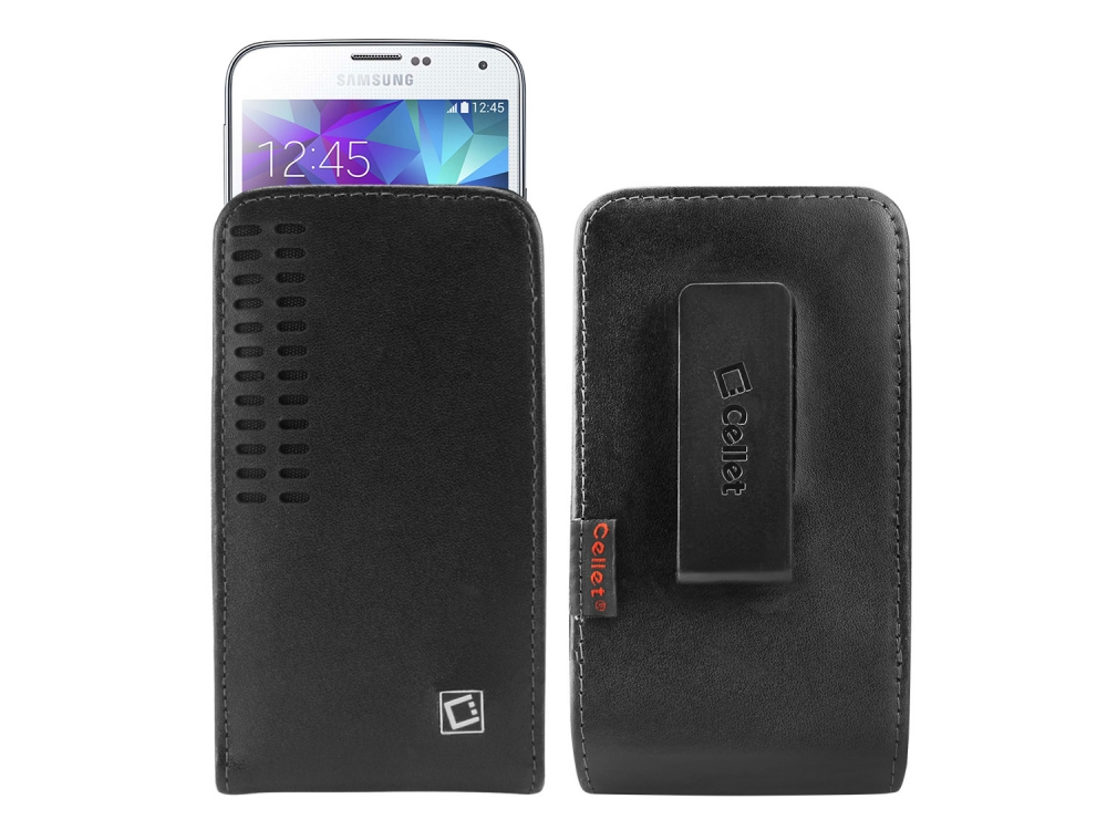 Moto Moto G5S Plus Vertical Slide In Leather Holster Swivel Clip Black