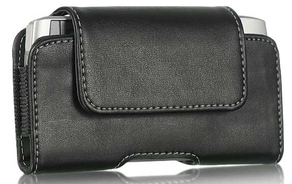 Leather Small Flap Case Swivel Clip Black