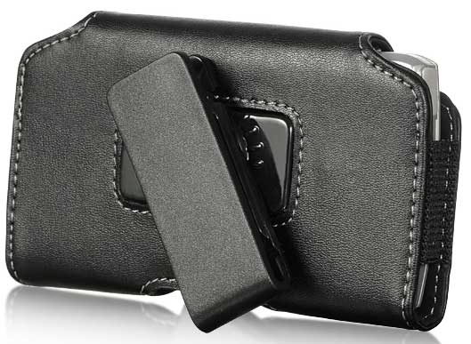 LG Optimus F7 Leather Small Flap Case Swivel Clip Black