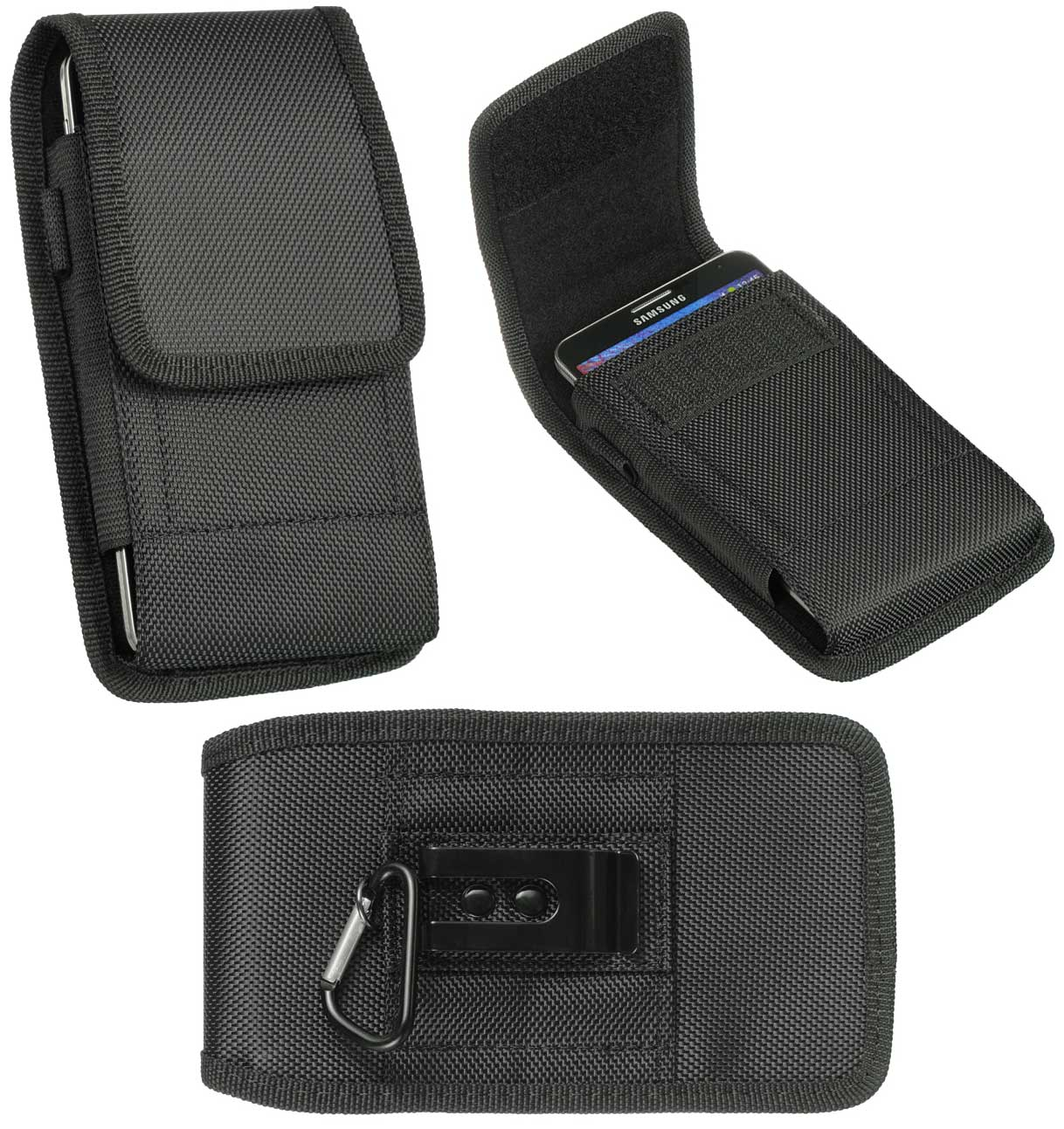Huawei P9 Neoprene Nylon Case Pouch Clip Hook Black