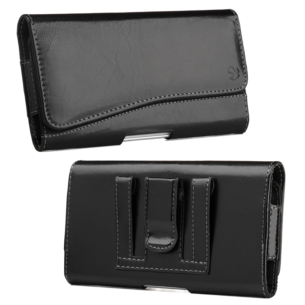 Nokia E7-00 Leatherette Case Pouch Hidden Closure Black