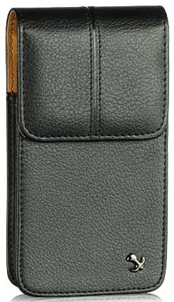 LG Q6 Vertical Leather Case Pouch Clip Black