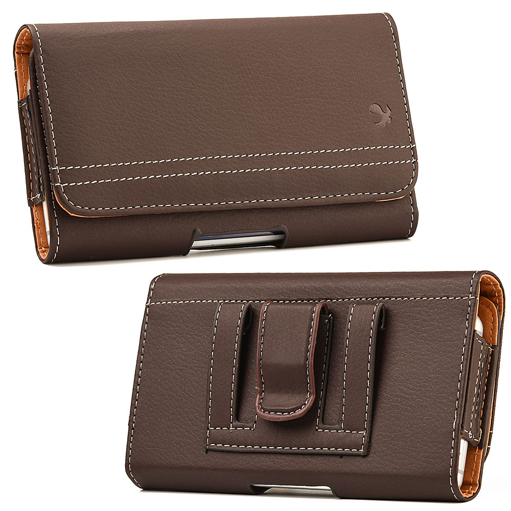 ZTE Max+ Case Pouch Clip Card Holder Brown