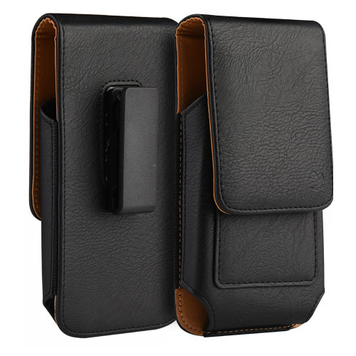 Leather Case Pouch Vertical Wallet Black