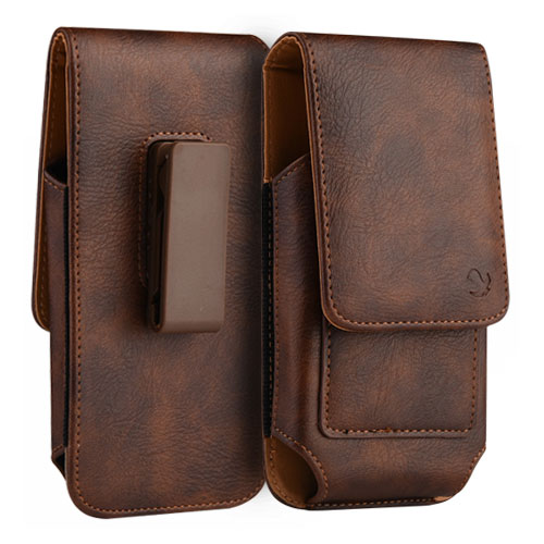 Leather Case Pouch Vertical Wallet Brown