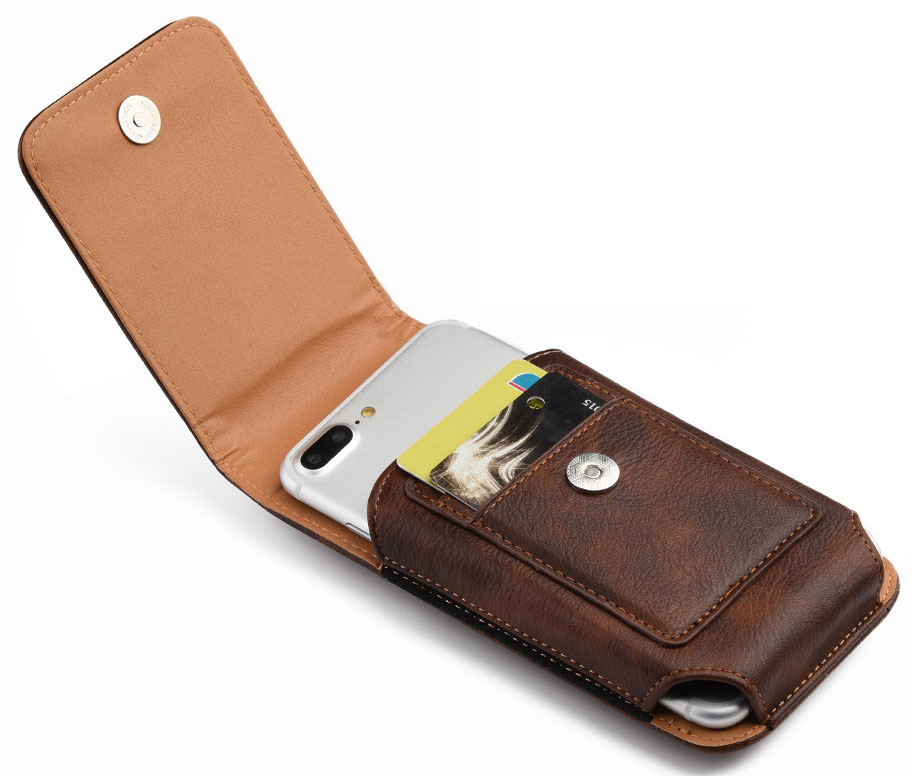 Samsung Galaxy Fold Leather Case Pouch Vertical Wallet Brown