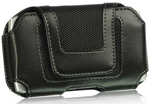 ZTE Aspect Leather Case Small Flap Velcro Closure Black